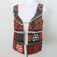 Vintage Tribal Vest / Cotton Aztec Print Vest Chains Closure