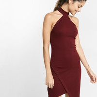 High Neck Asymmetrical Cutaway Dress