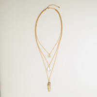 Gold 3-Layer Pendant Necklace - World Market