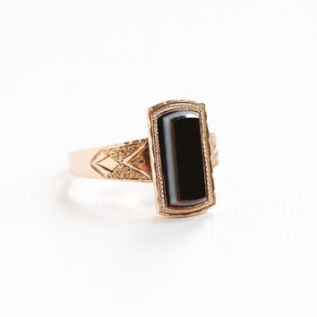 Antique Victorian 10k Rose Gold Banded Sardonyx Ring - Late 1800s Size 7 1/2 Brown, Black, White Chalcedony Gem Fine Statement Jewelry