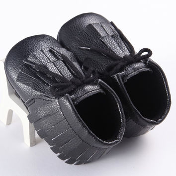 0-18M Child Boys Girls First Walkers Fringe Bebe Infant Toddler Shoes New Soft Kids PU Leather Baby Moccasins Soft Bottom Shoes NW