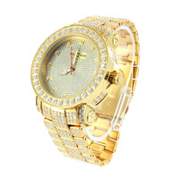 Mens Stainless Steel Real Diamond Dial Watch Gold Tone