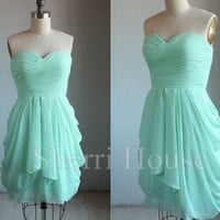 Mint Ruffled Sweetheart Strapless Short Bridesmaid Celebrity dress ,Chiffon Evening Party Prom Dress Homecoming Dress