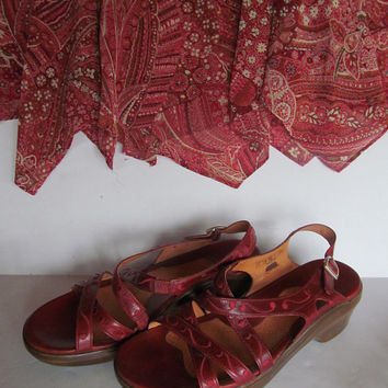 Red Leather Sandals sz 8 Red High Heel Shoes Red Sandals with Heels Red Shoes sz 8 Vintage Ariat Sandals Red Leather Sandals sz 8 Womens