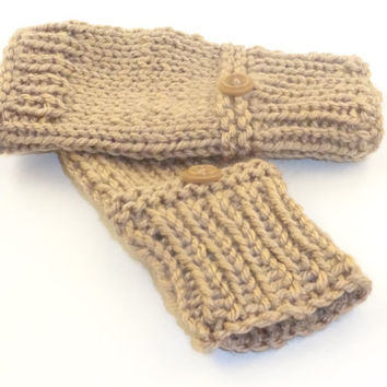Fingerless gloves with button, Knit hand warmers, wrist warmers pattern