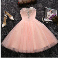 2016 new pink bridesmaid dress skirt bra sisters show hosted in spring and summer homecoming dress