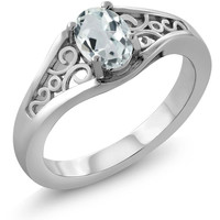 Oval Sky Blue Aquamarine 925 Sterling Silver Ring