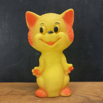 Rubber Cat Squeaky Toy Vintage Squeak Toys Retro Kids Baby Nursery Room Decor Made in Taiwan