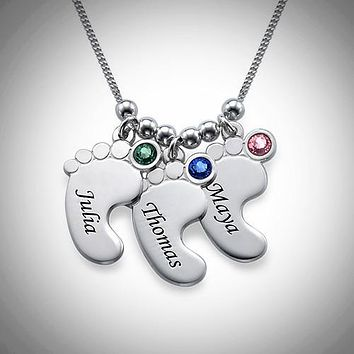 Baby Feet .925 Sterling Silver Crystal Charm Necklace - 3 Charms