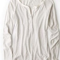 AEO Women's Striped Long Sleeve Henley T-shirt