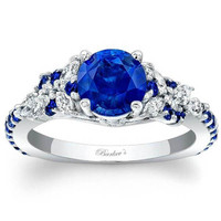 Barkev's Blue Sapphire Petal Diamond Engagement Ring
