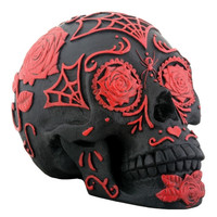 Day of the Dead Black and Red Tattoo Sugar Skull - T82240