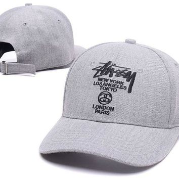 Trendy Stussy Embroidered Outdoor Baseball Cap Hats Gray