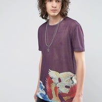 ASOS Relaxed T-Shirt With Crane Hem Print In Linen Look at asos.com