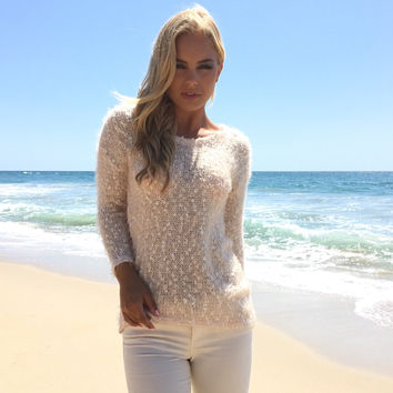 Chic In Pale Pink Sweater Top