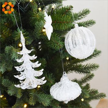 Snow White Crystal Multi Shape Christmas Tree Ornament Decorations For Home Snowman Christmas Gifts  Xmas Tree Supplies Pendant