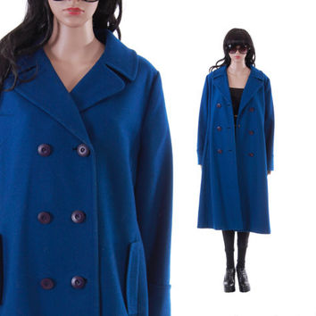 Royal Blue Wool Coat Long Maxi Double Breasted Military Inspired Minimalist 80s 90s  Winter Outerwear Vintage Womens Clothing Size Large