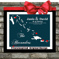 Destination Wedding Gift : Custom Location Map - 8x10 / Bahamas, Carribean, USVI - Any Location Available - Engagement Gift Personalized Art