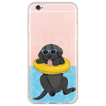 Happy Puppy in a  Pool Float Case for iPhone