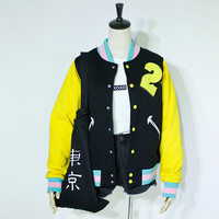 Japanese harajuku couples baseball jacket