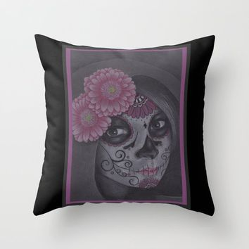 Dia De Los Muertos - Daisy Throw Pillow by drawingsbylam