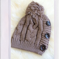 Button Down Beanie- Mocha