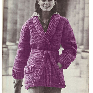 Crochet Patterns Jacket : CROCHET JACKET PATTERN Crochet Sweater Pattern Crochet Cardigan ...