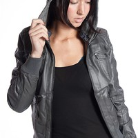 Miss Posh Hooded Faux Leather Moto Jacket - Charcoal