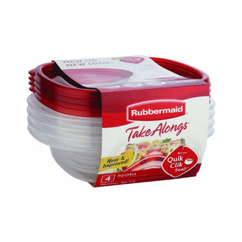 Rubbermaid 7F58 4-Piece TakeAlongs Food Storage Container Set Sandwich Red