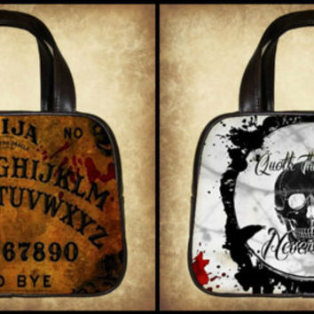 Double sided leather Handbag, Ouija Board, Quoth the Raven or both designs!