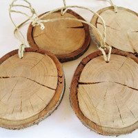 Wood Slices Set of 4, Blank Wood Slice, DIY Wood Slice, Wood Ornament, Craft Wood Projects