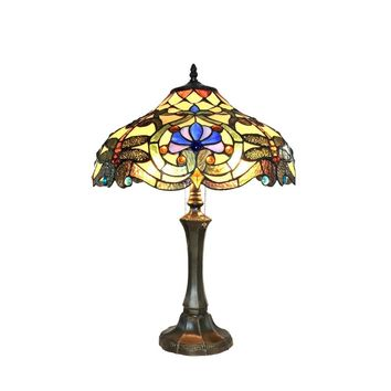 "Amberwing Tiffany-Style 2 Light Dragonfly Table Lamp 17"" Shade"