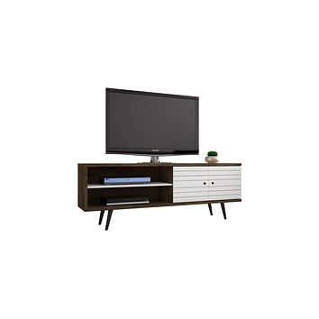 "62.99"" Mid Century - Modern TV Stand w/ 3 Shelves & 2 Doors w/ Solid Wood Legs-Rustic Brown, White"