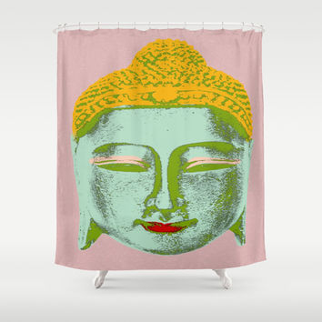 Green Buddha Shower Curtain by Aloke Design