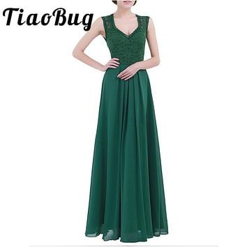 TiaoBug 2017 Green/Black Vestidos Women Summer Dresses Party Formal Pageant Dress Long Prom Tulle Lace Maxi Adults Dresses