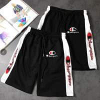Champion black and white stitching embroidery logo couple shorts both sides have two colors cursive embroidery