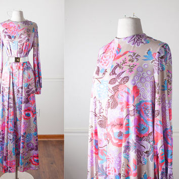 Vintage Kamehameha Hawaiian Dress | Psychedelic 60s Dress 60s Mod Dress Kaftan Dress Boho Chic 70s Maxi Dress Caftan Dress Hawaiian MuuMuu