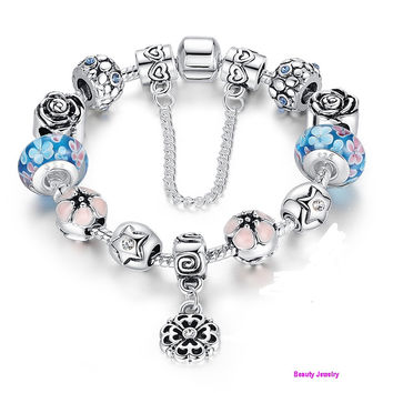 A great gift to share on any special occasion!925 Silver Charms Bracelet  With Flower Bead