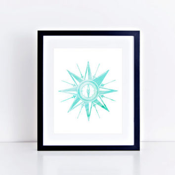 Watercolor Compass Print // Choose From 5 Colors // Home Decor // Watercolor Print // Gallery Wall Print