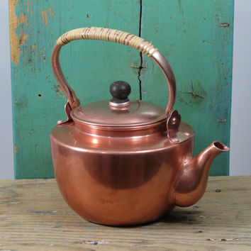 Teapot Anodized Aluminum . Coppertone Aluminum Teapot . Very Small Mid Century Teapot . Japan Tea Pot