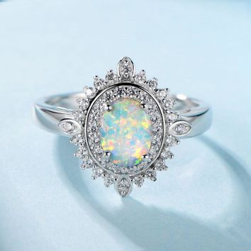 STYLEDOME Silver Shining Oval Opal Ring Rhinestone Engagement Wedding Rings