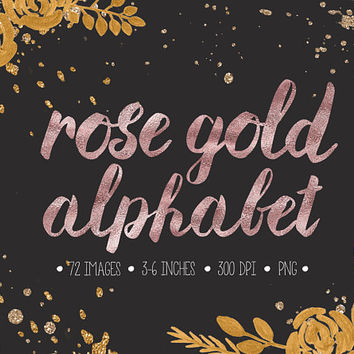 Rose Gold Alphabet Clip Art. Pink Glitter Letters, Numbers, Symbols. Hand Written Rose Gold Font for Wedding. Metallic Brush Script Clipart.