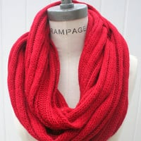 Red Infinity Scarf FREE SHIPPING Winter Fashion Neckwarmer Chunky Loop Scarf -By  PIYOYO