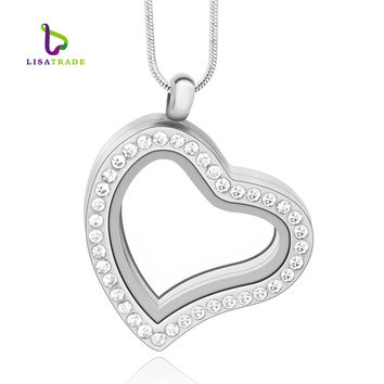 5PCS !! 30mm Silver Heart magnetic glass floating charm locket Zinc Alloy (with free chains)rhinestone pendant LSFL03-1*5