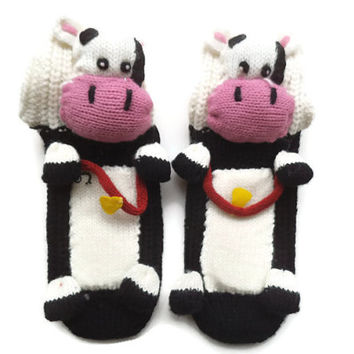 Socks for children, Kids socks with animal, anti skid socks, 3D socks, house slippers, socks with cow, play socks, unique socks