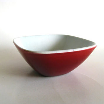 Small Bowl Red and White Rorstrand Sweden Vintage by pillowsophi