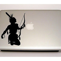 MACBOOK IPAD LAPTOP VINYL STICKER DECAL CUSTOM SIZE INDIAN WARRIOR D1149