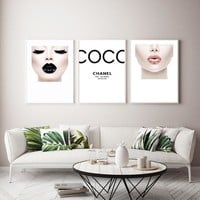 Modern Fashion Women Black Pink Lips Canvas Painting COCO Wall Art Wall Pictures For Living Room Posters and Print Home Decor