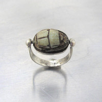 Antique Egyptian Scarab Flip Ring, Swivel Cab Set Carved Stone Hieroglyphics, Unisex Men Women Egyptian Revival Jewelry