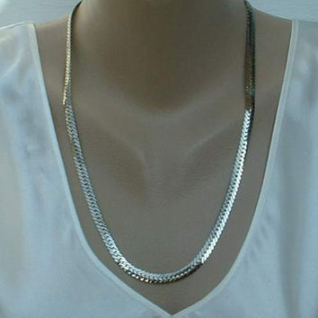 Silvertone Wide Herringbone Chain Necklace 23 Inches Plus Vintage Jewelry